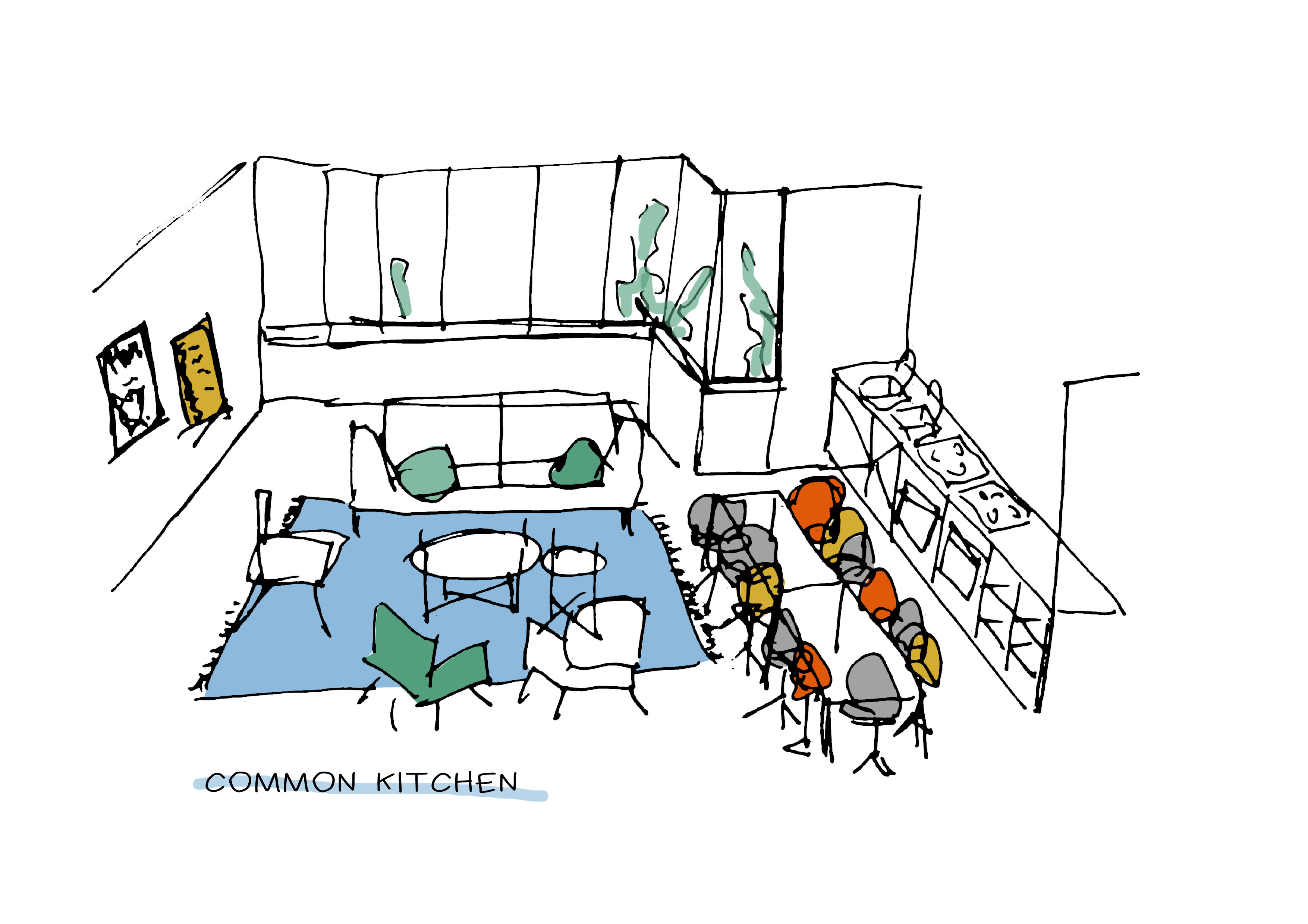 gemeenschappelijke ruimtes voor de studenten